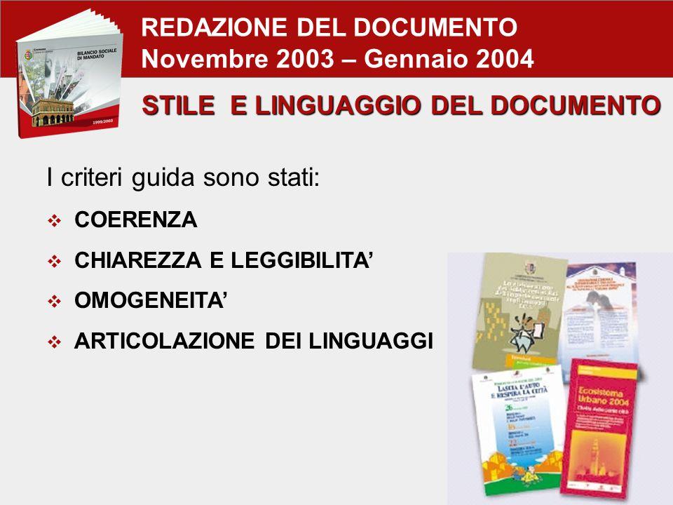 REDAZIONE DEL DOCUMENTO Novembre 2003 – Gennaio 2004 I criteri guida sono stati:  COERENZA  CHIAREZZA E LEGGIBILITA'  OMOGENEITA'  ARTICOLAZIONE DEI LINGUAGGI STILE E LINGUAGGIO DEL DOCUMENTO
