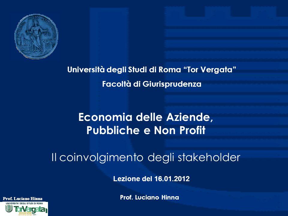 Prof.Luciano Hinna Su cosa coinvolgere.