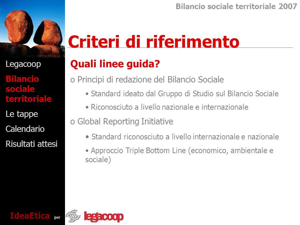 Legacoop Bilancio sociale territoriale Le tappe Calendario Risultati attesi Criteri di riferimento Bilancio sociale territoriale 2007 IdeaEtica per Quali linee guida.