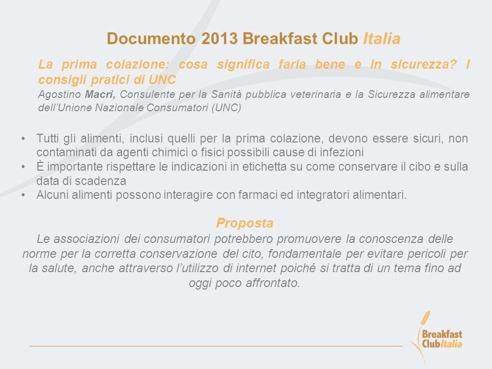 Documento 2013 Breakfast Club Italia La prima colazione: cosa significa farla bene e in sicurezza.