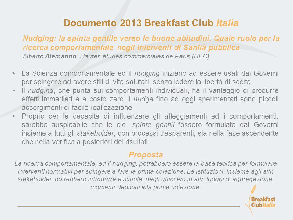 Documento 2013 Breakfast Club Italia Basi teoriche della Terapia Cognitivo Comportamentale dell'obesità: strategie cognitivo-comportamentali per favorire un'adeguata prima colazione M.G.