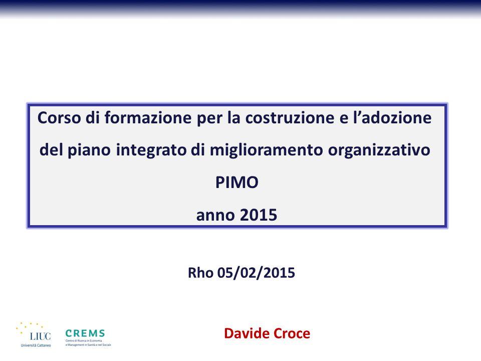 Davide Croce Corso di formazione per la costruzione e l'adozione del piano integrato di miglioramento organizzativo PIMO anno 2015 Rho 05/02/2015