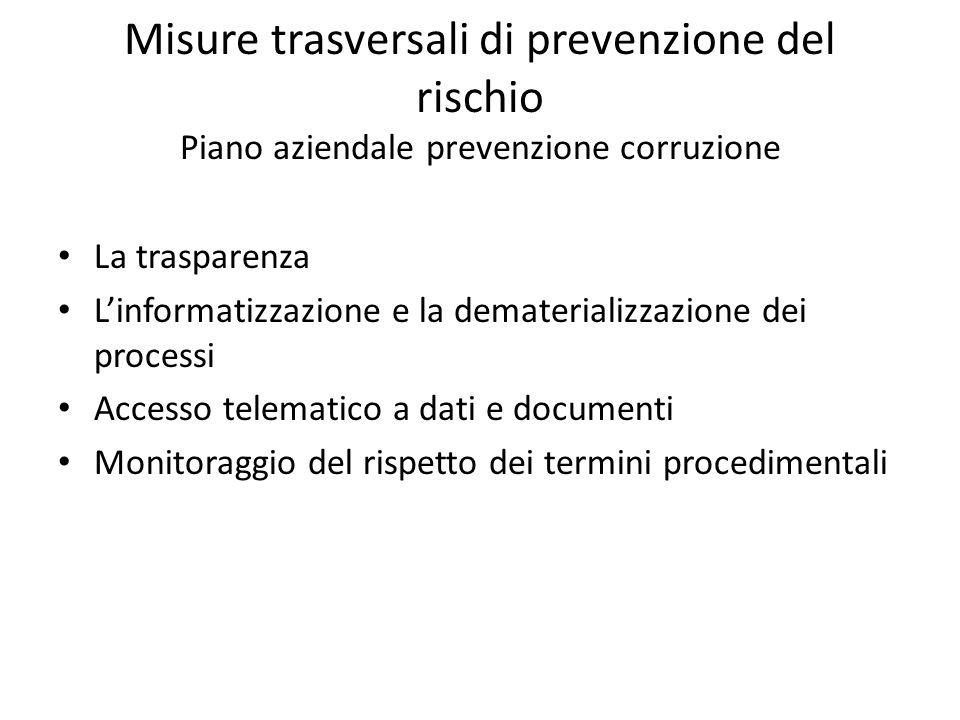 Misure trasversali di prevenzione del rischio Piano aziendale prevenzione corruzione La trasparenza L'informatizzazione e la dematerializzazione dei p