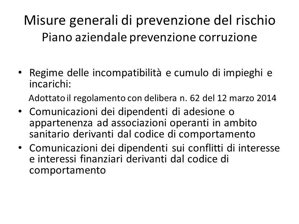 Misure generali di prevenzione del rischio Piano aziendale prevenzione corruzione Regime delle incompatibilità e cumulo di impieghi e incarichi: Adott