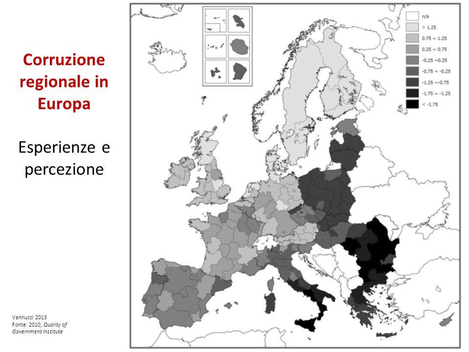 Corruzione regionale in Europa Esperienze e percezione Vannucci 2013 Fonte: 2010, Quality of Government Institute