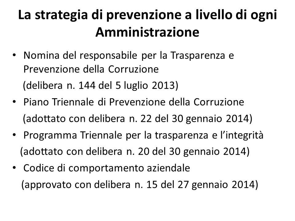 La strategia di prevenzione a livello di ogni Amministrazione Nomina del responsabile per la Trasparenza e Prevenzione della Corruzione (delibera n. 1