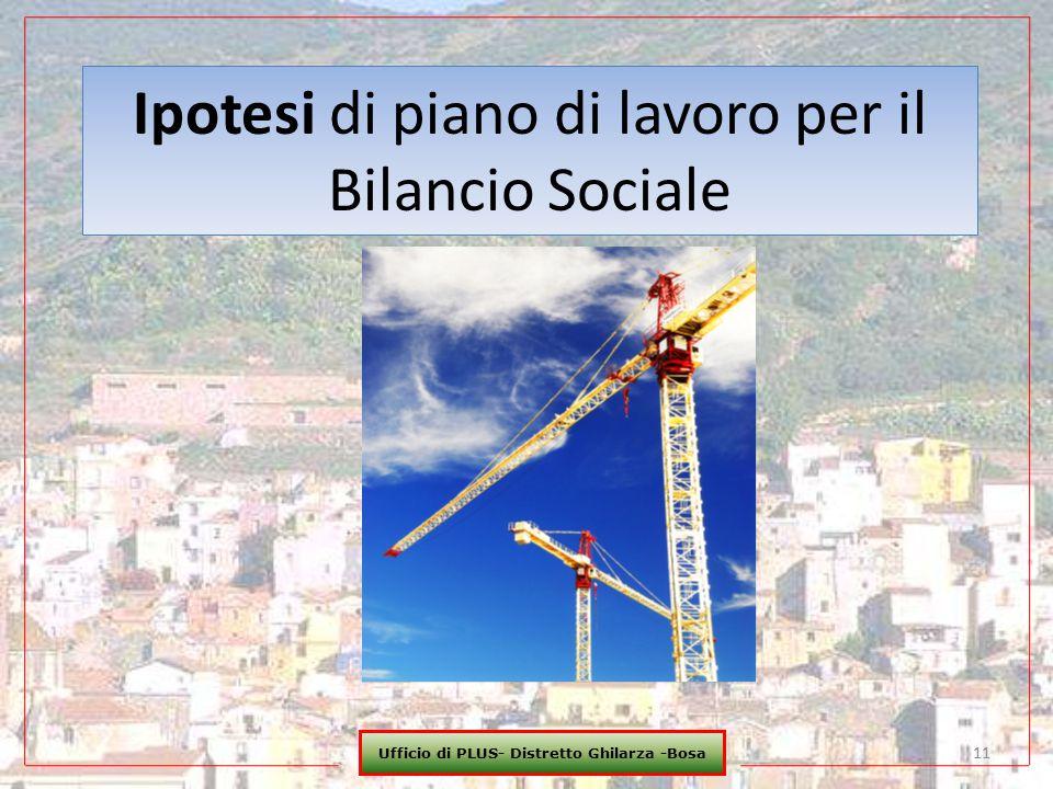 Ufficio di PLUS- Distretto Ghilarza -Bosa 11 Ipotesi di piano di lavoro per il Bilancio Sociale
