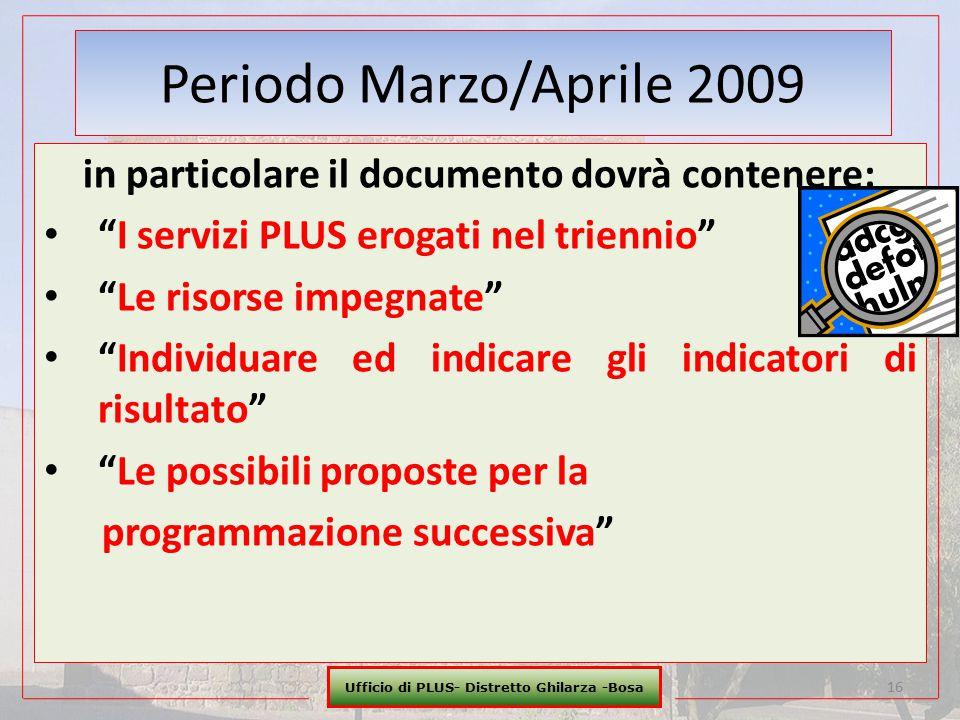 """Ufficio di PLUS- Distretto Ghilarza -Bosa 16 Periodo Marzo/Aprile 2009 in particolare il documento dovrà contenere: """"I servizi PLUS erogati nel trienn"""