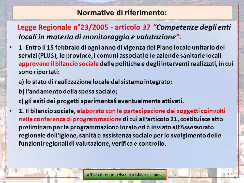 """Normative di riferimento: Legge Regionale n°23/2005 - articolo 37 """"Competenze degli enti locali in materia di monitoraggio e valutazione"""". 1. Entro il"""