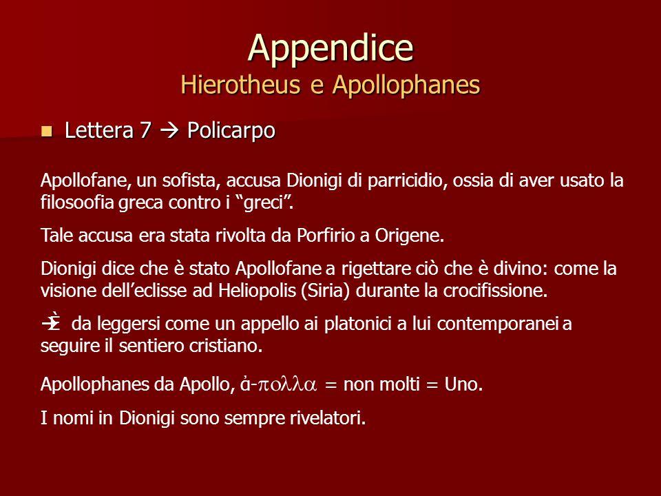Appendice Hierotheus e Apollophanes Lettera 7  Policarpo Lettera 7  Policarpo Apollofane, un sofista, accusa Dionigi di parricidio, ossia di aver usato la filosoofia greca contro i greci .