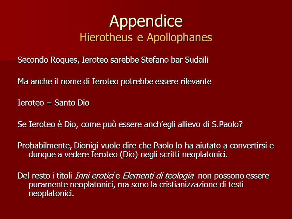 Appendice Hierotheus e Apollophanes Secondo Roques, Ieroteo sarebbe Stefano bar Sudaili Ma anche il nome di Ieroteo potrebbe essere rilevante Ieroteo = Santo Dio Se Ieroteo è Dio, come può essere anch'egli allievo di S.Paolo.