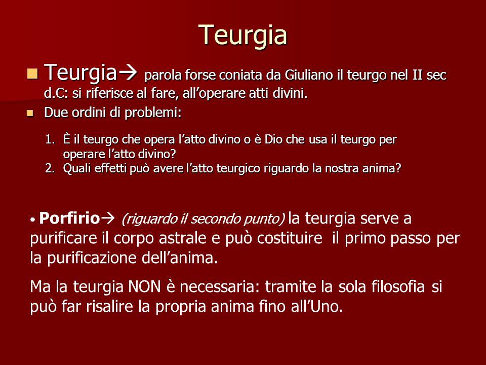 Teurgia Teurgia  parola forse coniata da Giuliano il teurgo nel II sec d.C: si riferisce al fare, all'operare atti divini.