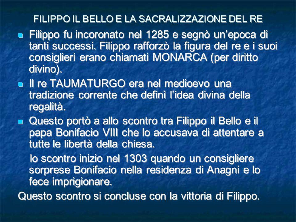 FILIPPO IL BELLO E LA SACRALIZZAZIONE DEL RE Filippo fu incoronato nel 1285 e segnò un'epoca di tanti successi.