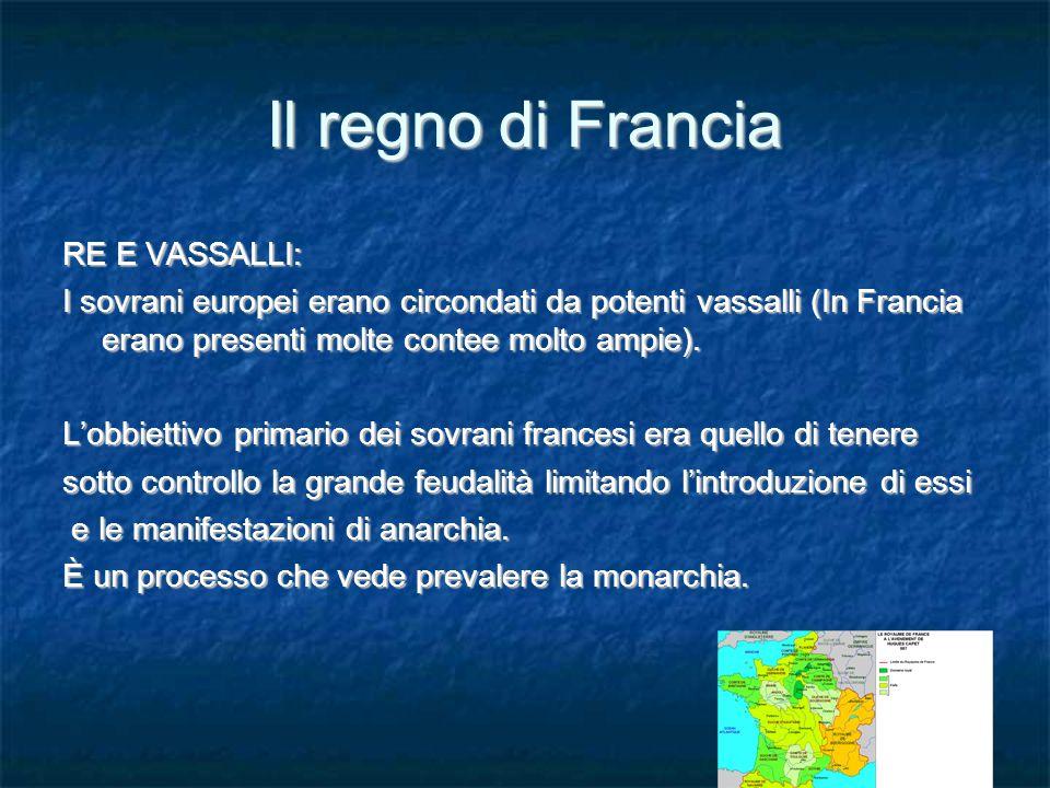 Il regno di Francia RE E VASSALLI: I sovrani europei erano circondati da potenti vassalli (In Francia erano presenti molte contee molto ampie).