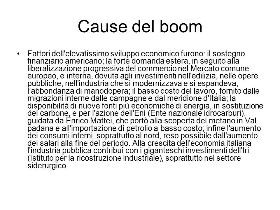 Cause del boom Fattori dell'elevatissimo sviluppo economico furono: il sostegno finanziario americano; la forte domanda estera, in seguito alla libera