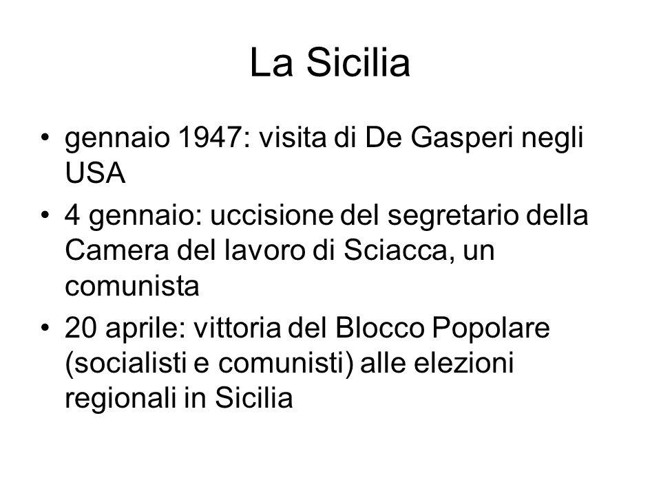 La Sicilia gennaio 1947: visita di De Gasperi negli USA 4 gennaio: uccisione del segretario della Camera del lavoro di Sciacca, un comunista 20 aprile