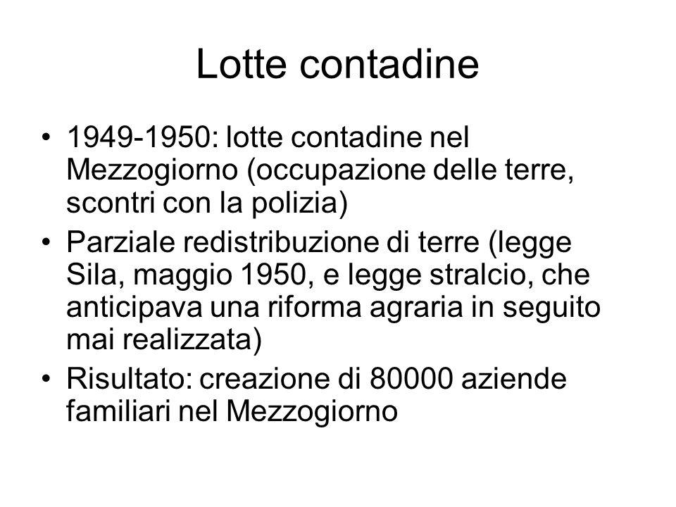 Lotte contadine 1949-1950: lotte contadine nel Mezzogiorno (occupazione delle terre, scontri con la polizia) Parziale redistribuzione di terre (legge