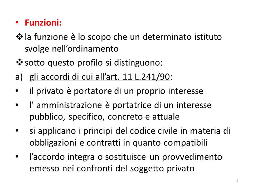 Funzioni:  la funzione è lo scopo che un determinato istituto svolge nell'ordinamento  sotto questo profilo si distinguono: a)gli accordi di cui all'art.
