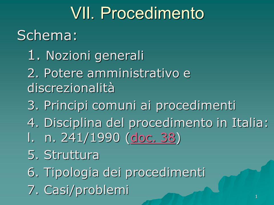 1 VII. Procedimento Schema: 1. Nozioni generali 2. Potere amministrativo e discrezionalità 3. Principi comuni ai procedimenti 4. Disciplina del proced