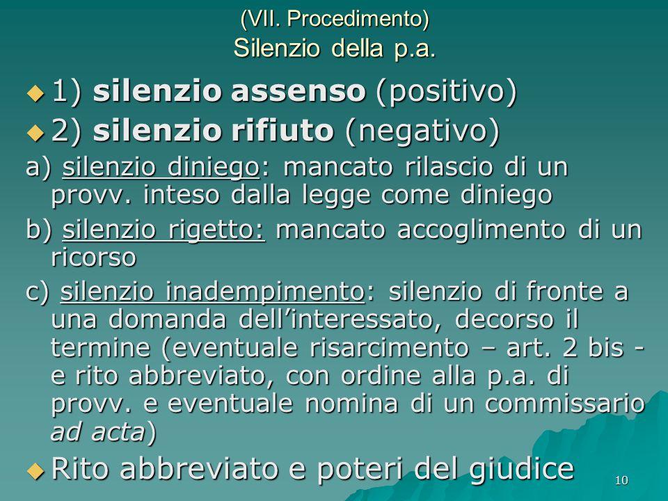 10 (VII. Procedimento) Silenzio della p.a.  1) silenzio assenso (positivo)  2) silenzio rifiuto (negativo) a) silenzio diniego: mancato rilascio di