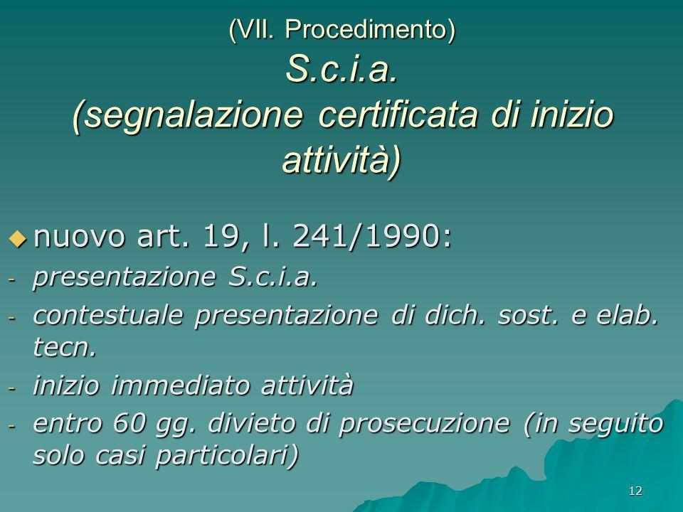 12 (VII. Procedimento) S.c.i.a. (segnalazione certificata di inizio attività)  nuovo art. 19, l. 241/1990: - presentazione S.c.i.a. - contestuale pre