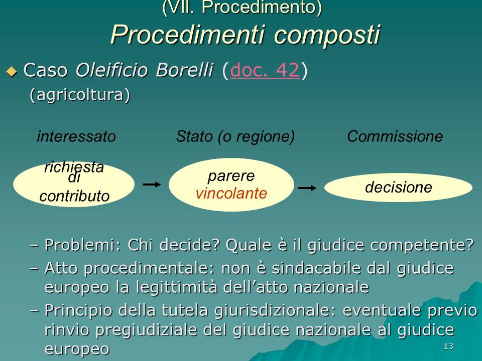 13 (VII. Procedimento) Procedimenti composti  Caso Oleificio Borelli  Caso Oleificio Borelli (doc. 42)(agricoltura) –Problemi: Chi decide? Quale è i