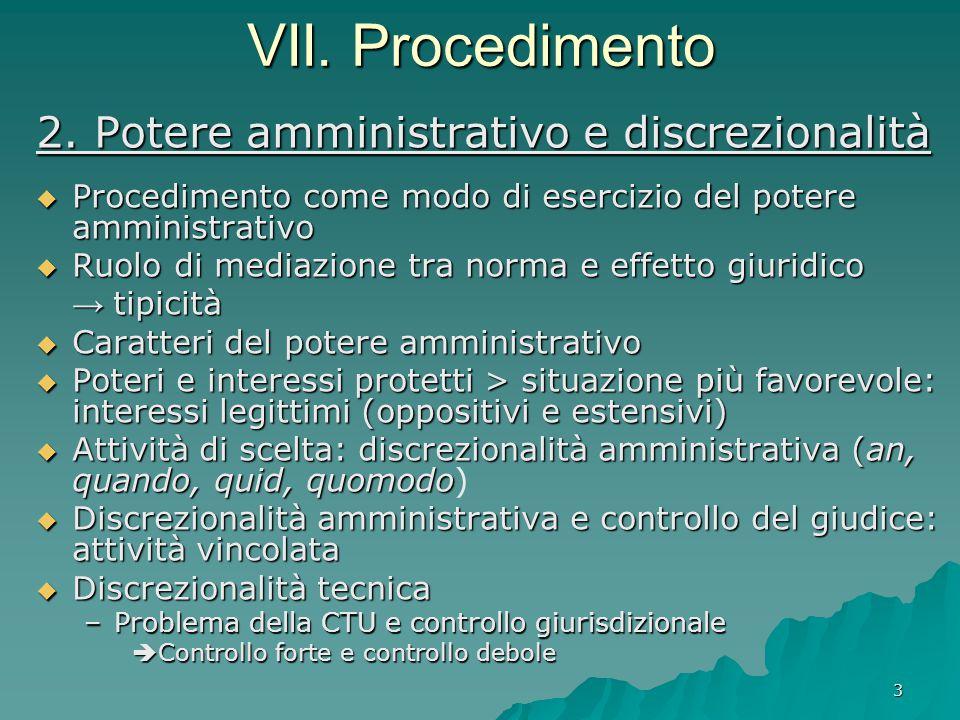 3 VII. Procedimento 2. Potere amministrativo e discrezionalità  Procedimento come modo di esercizio del potere amministrativo  Ruolo di mediazione t