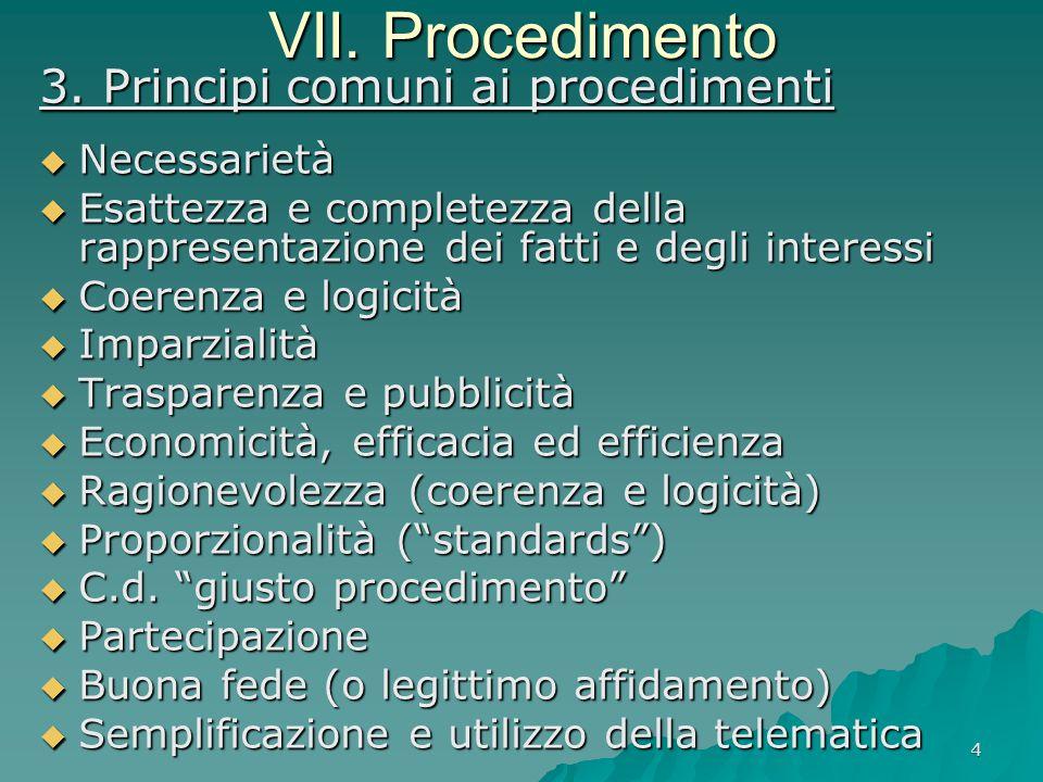 4 VII. Procedimento 3. Principi comuni ai procedimenti  Necessarietà  Esattezza e completezza della rappresentazione dei fatti e degli interessi  C