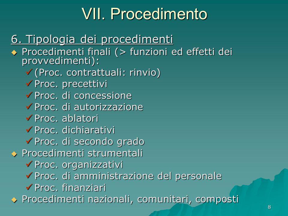 8 VII. Procedimento 6. Tipologia dei procedimenti  Procedimenti finali (> funzioni ed effetti dei provvedimenti): (Proc. contrattuali: rinvio) (Proc.