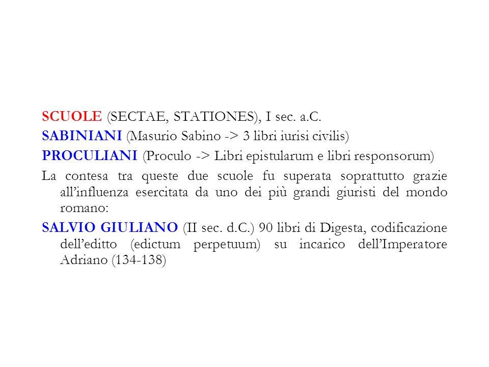 SCUOLE (SECTAE, STATIONES), I sec. a.C. SABINIANI (Masurio Sabino -> 3 libri iurisi civilis) PROCULIANI (Proculo -> Libri epistularum e libri responso
