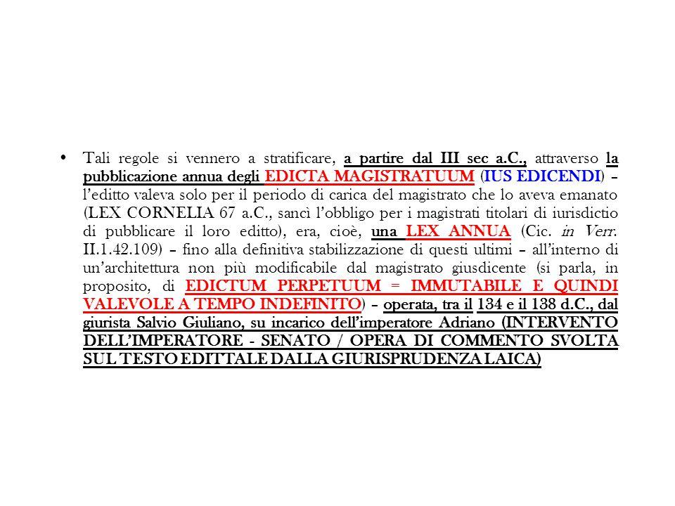 Tali regole si vennero a stratificare, a partire dal III sec a.C., attraverso la pubblicazione annua degli EDICTA MAGISTRATUUM (IUS EDICENDI) – l'edit