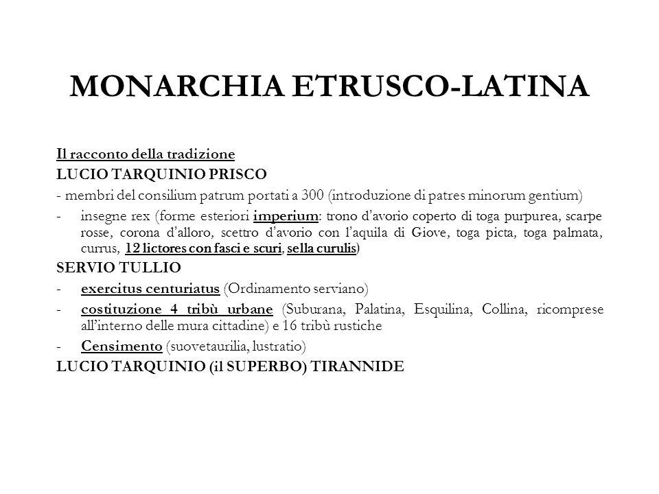 MONARCHIA ETRUSCO-LATINA Il racconto della tradizione LUCIO TARQUINIO PRISCO - membri del consilium patrum portati a 300 (introduzione di patres minor