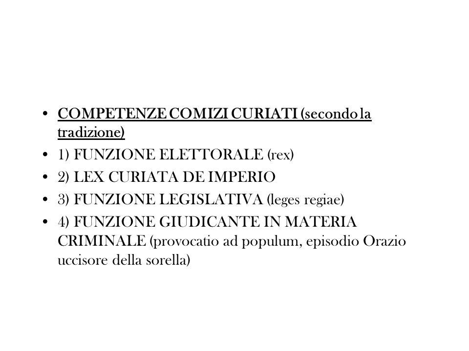 COMPETENZE COMIZI CURIATI (secondo la tradizione) 1) FUNZIONE ELETTORALE (rex) 2) LEX CURIATA DE IMPERIO 3) FUNZIONE LEGISLATIVA (leges regiae) 4) FUN