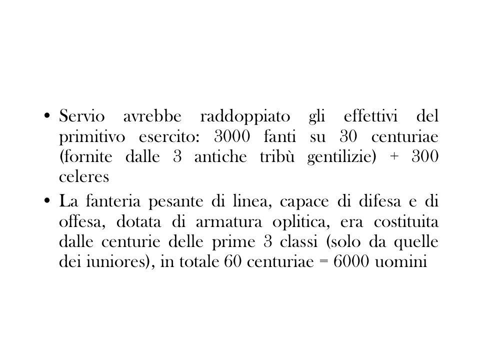 Servio avrebbe raddoppiato gli effettivi del primitivo esercito: 3000 fanti su 30 centuriae (fornite dalle 3 antiche tribù gentilizie) + 300 celeres L