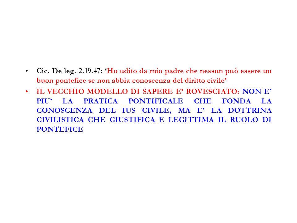 Cic. De leg. 2.19.47: 'Ho udito da mio padre che nessun può essere un buon pontefice se non abbia conoscenza del diritto civile' IL VECCHIO MODELLO DI
