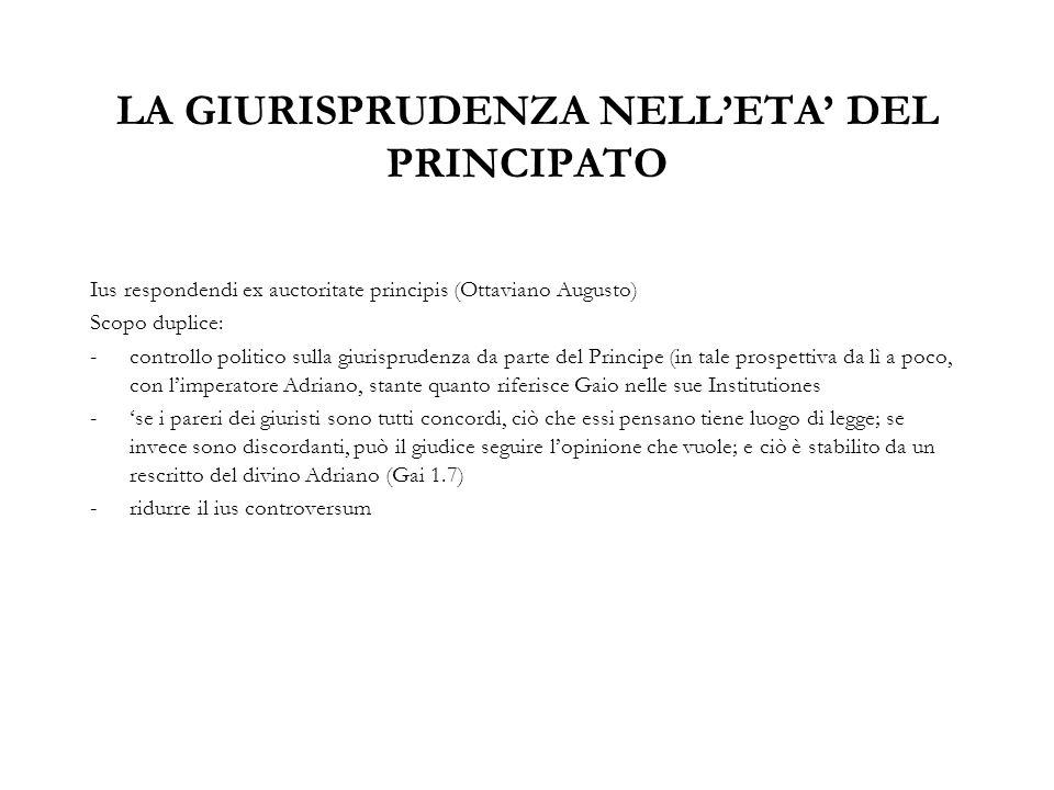 LA GIURISPRUDENZA NELL'ETA' DEL PRINCIPATO Ius respondendi ex auctoritate principis (Ottaviano Augusto) Scopo duplice: -controllo politico sulla giuri