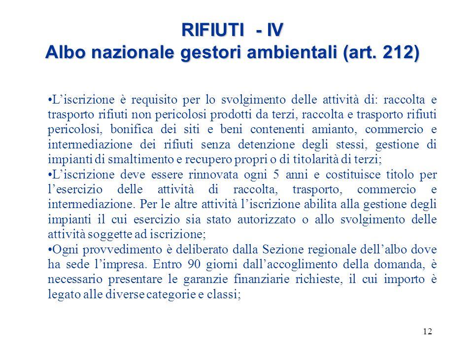 12 RIFIUTI - IV Albo nazionale gestori ambientali (art. 212) L'iscrizione è requisito per lo svolgimento delle attività di: raccolta e trasporto rifiu
