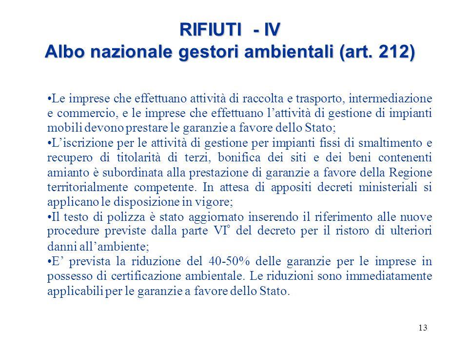 13 RIFIUTI - IV Albo nazionale gestori ambientali (art. 212) Le imprese che effettuano attività di raccolta e trasporto, intermediazione e commercio,