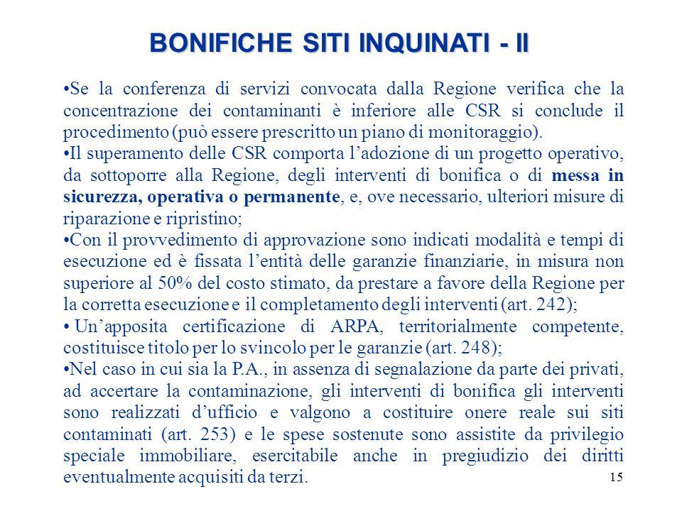 15 BONIFICHE SITI INQUINATI - II BONIFICHE SITI INQUINATI - II Se la conferenza di servizi convocata dalla Regione verifica che la concentrazione dei