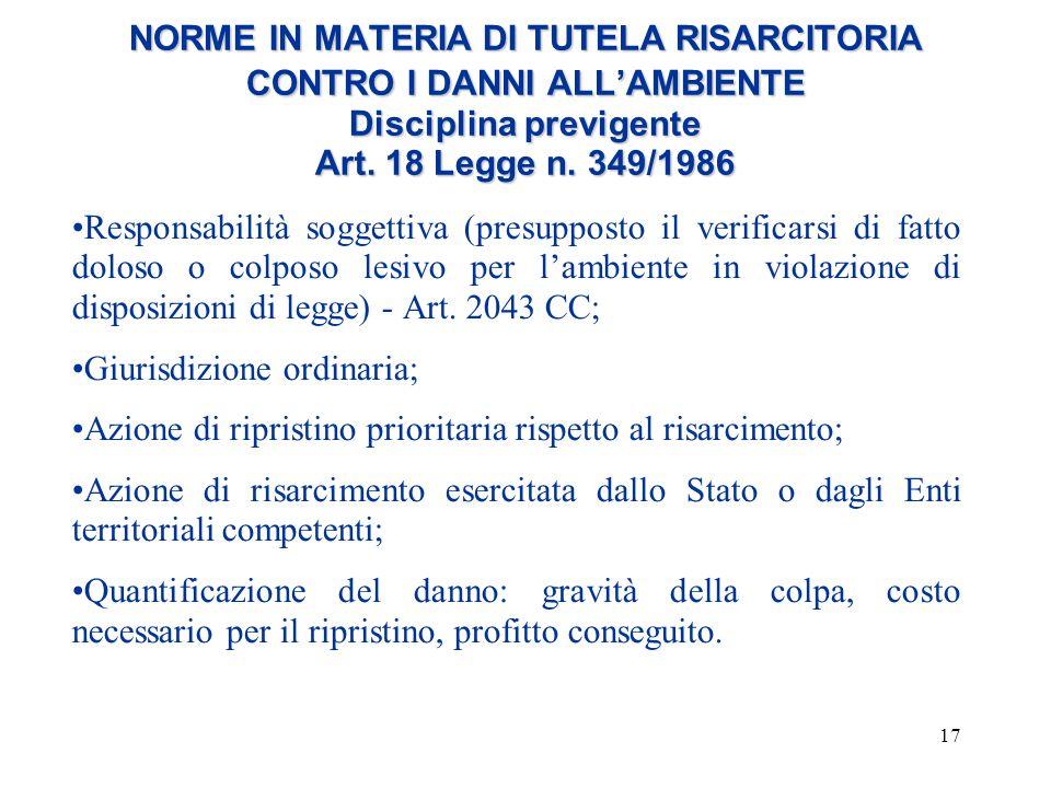 17 NORME IN MATERIA DI TUTELA RISARCITORIA CONTRO I DANNI ALL'AMBIENTE Disciplina previgente Art. 18 Legge n. 349/1986 Responsabilità soggettiva (pres