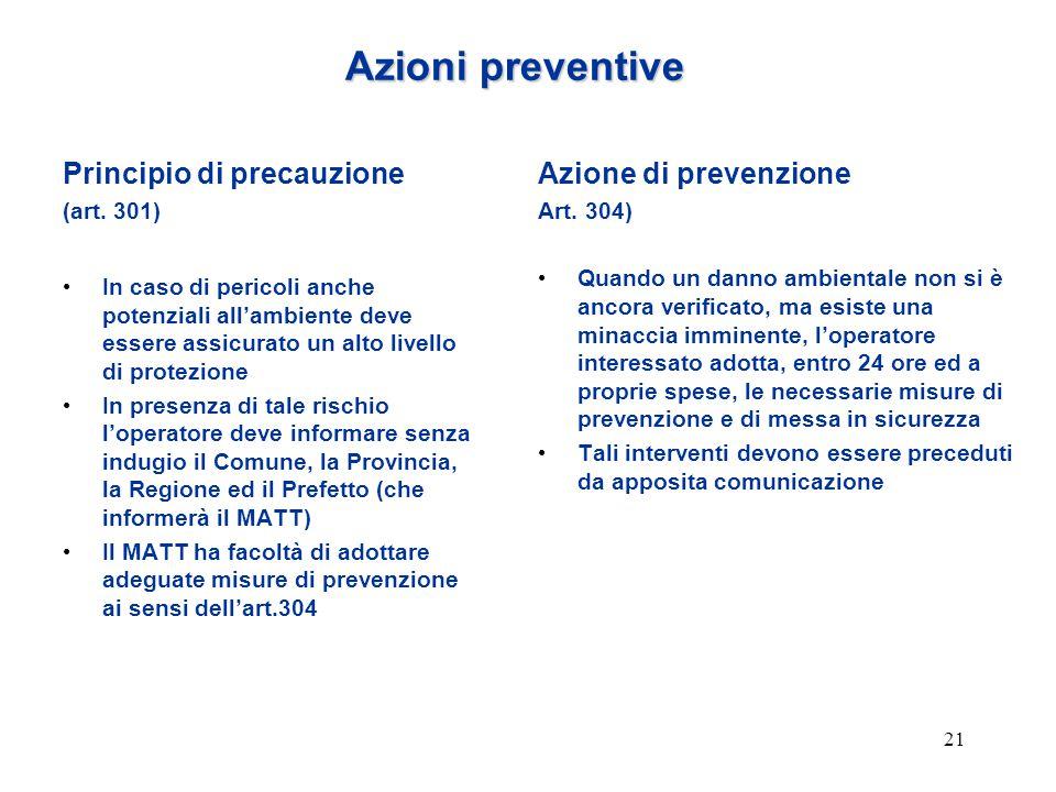 21 Azioni preventive Principio di precauzione (art. 301) In caso di pericoli anche potenziali all'ambiente deve essere assicurato un alto livello di p