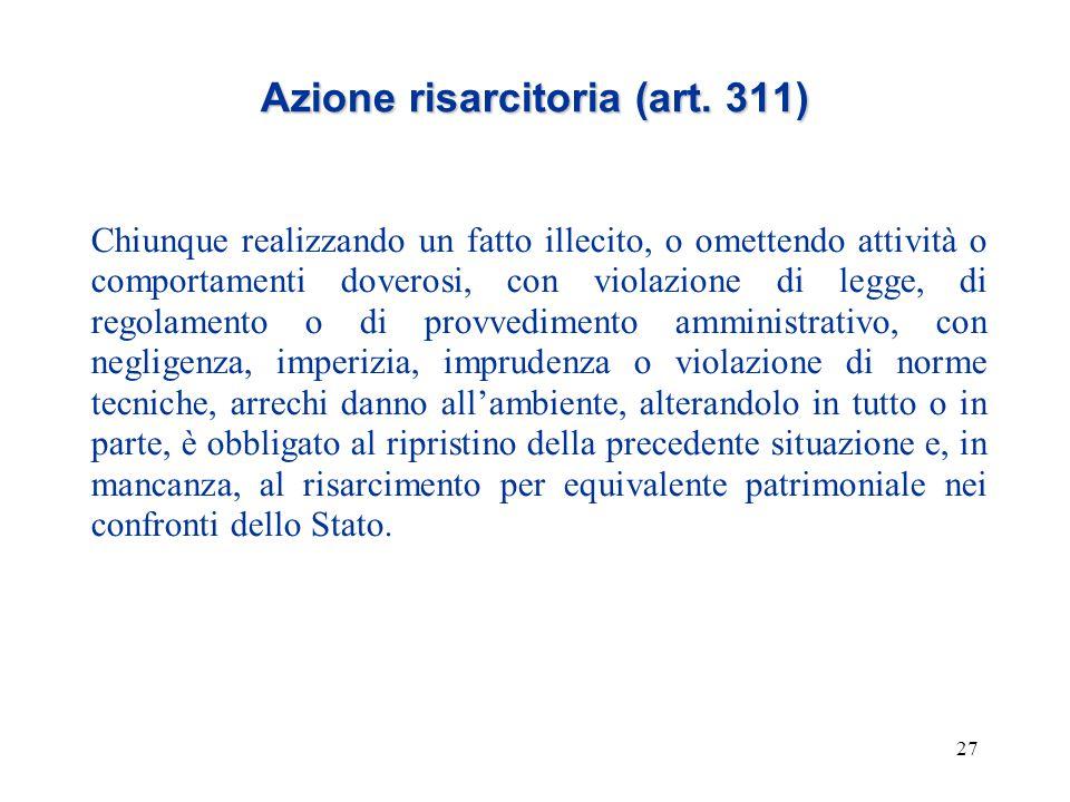 27 Azione risarcitoria (art. 311) Chiunque realizzando un fatto illecito, o omettendo attività o comportamenti doverosi, con violazione di legge, di r