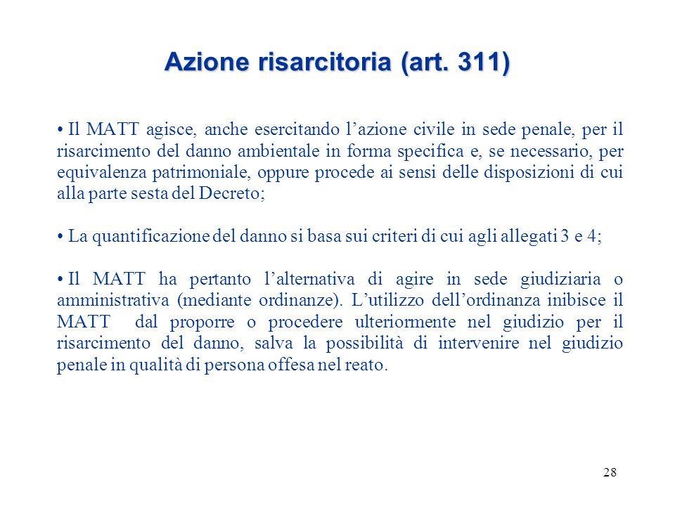 28 Azione risarcitoria (art. 311) Il MATT agisce, anche esercitando l'azione civile in sede penale, per il risarcimento del danno ambientale in forma