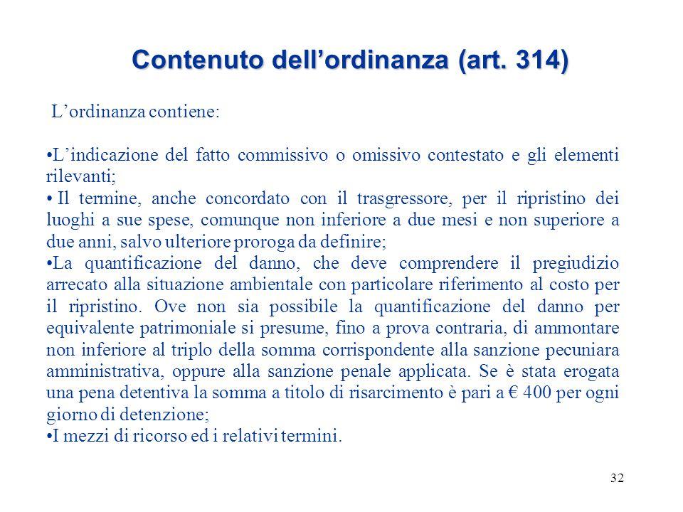 32 Contenuto dell'ordinanza (art. 314) L'ordinanza contiene: L'indicazione del fatto commissivo o omissivo contestato e gli elementi rilevanti; Il ter