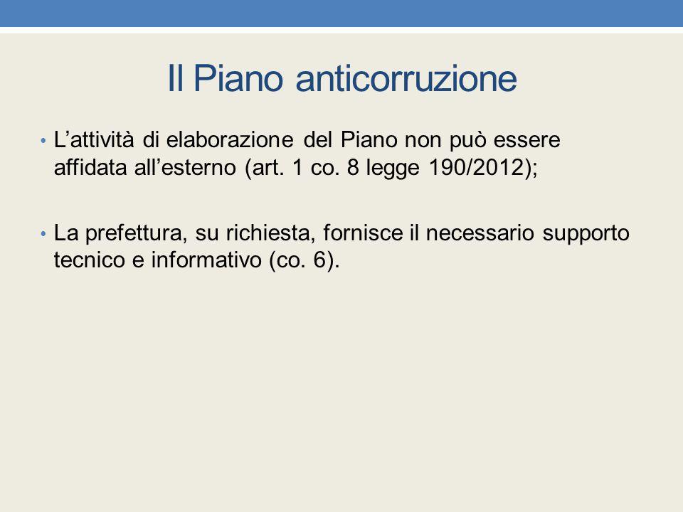 Il Piano anticorruzione L'attività di elaborazione del Piano non può essere affidata all'esterno (art. 1 co. 8 legge 190/2012); La prefettura, su rich