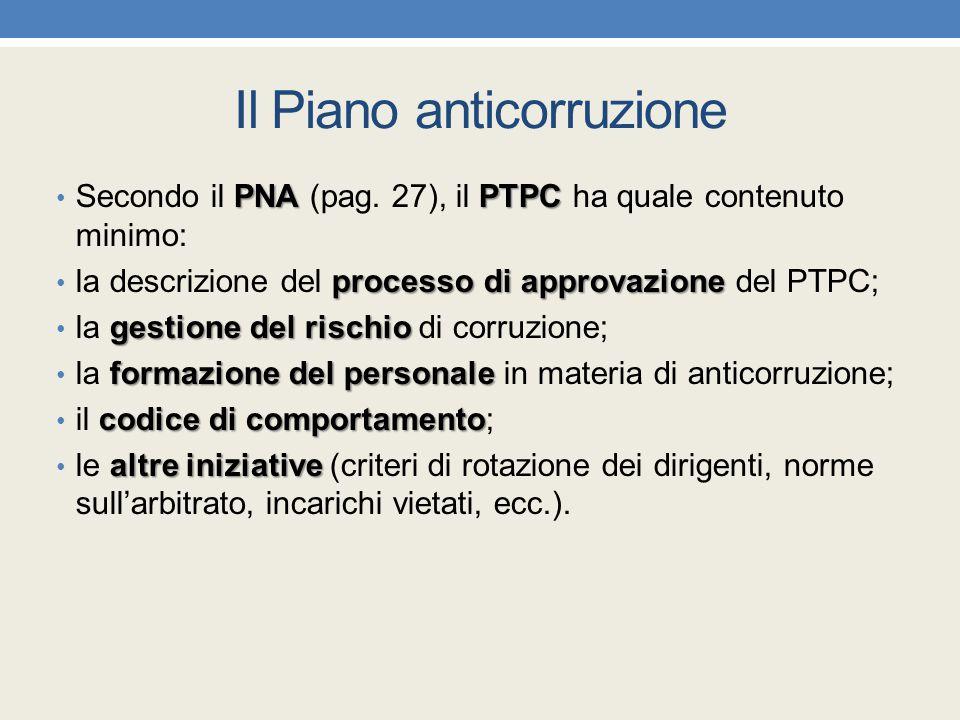 Il Piano anticorruzione PNA PTPC Secondo il PNA (pag. 27), il PTPC ha quale contenuto minimo: processo di approvazione la descrizione del processo di