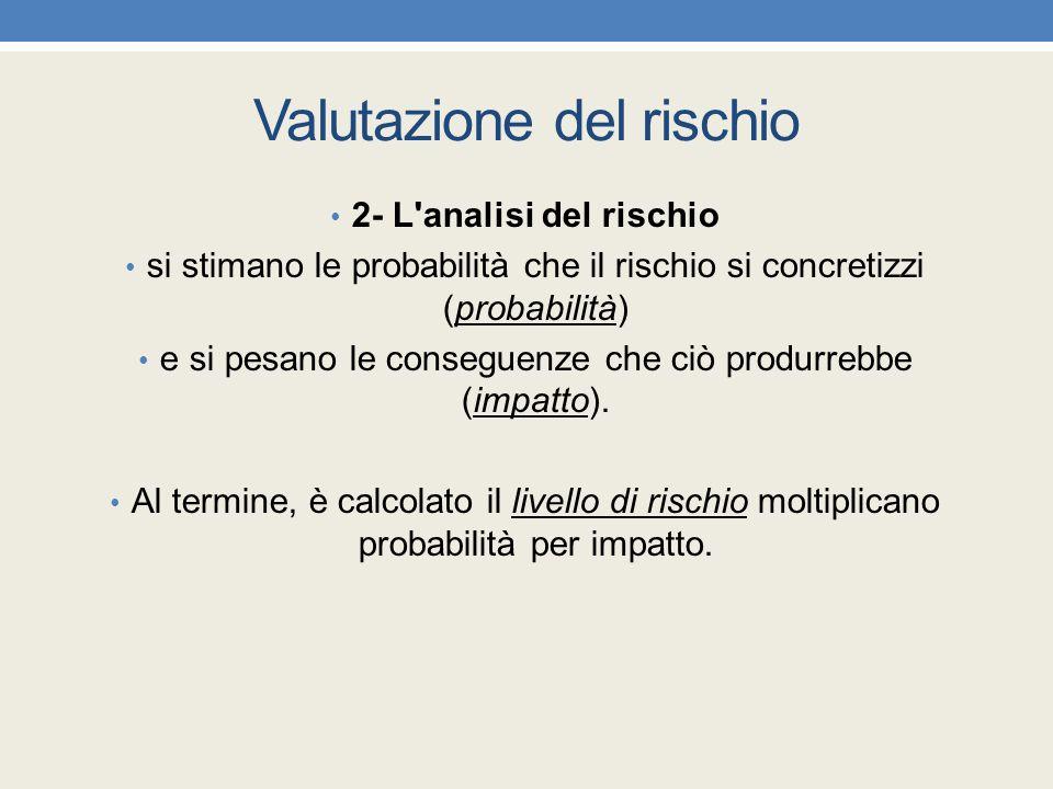Valutazione del rischio 2- L'analisi del rischio si stimano le probabilità che il rischio si concretizzi (probabilità) e si pesano le conseguenze che