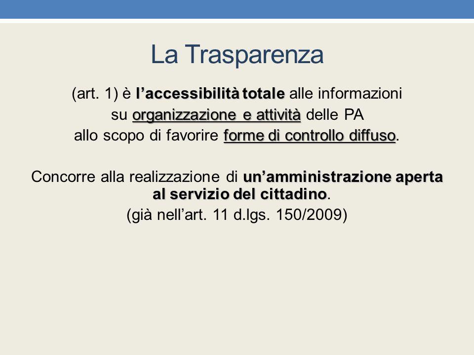 La Trasparenza l'accessibilità totale (art. 1) è l'accessibilità totale alle informazioni organizzazione e attività su organizzazione e attività delle