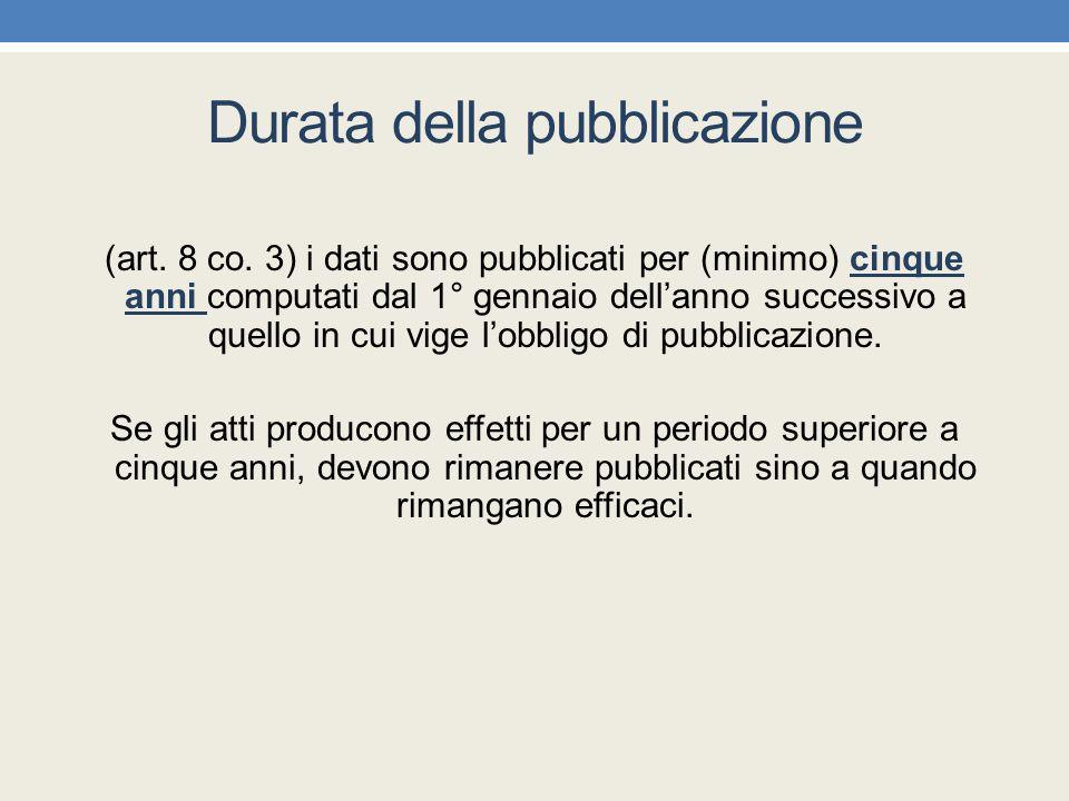 Durata della pubblicazione (art. 8 co. 3) i dati sono pubblicati per (minimo) cinque anni computati dal 1° gennaio dell'anno successivo a quello in cu