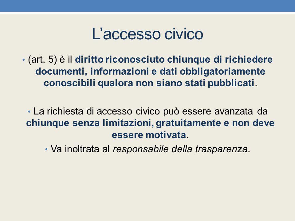 L'accesso civico (art. 5) è il diritto riconosciuto chiunque di richiedere documenti, informazioni e dati obbligatoriamente conoscibili qualora non si